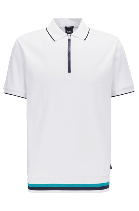 Polo Regular Fit à encolure zippée , Blanc