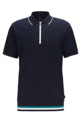 Polo Regular Fit à encolure zippée , Bleu foncé