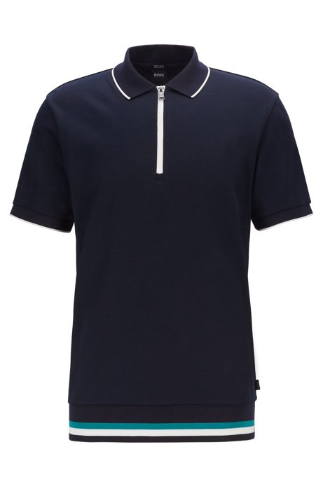 Regular-fit polo shirt with zip-neck , Dark Blue