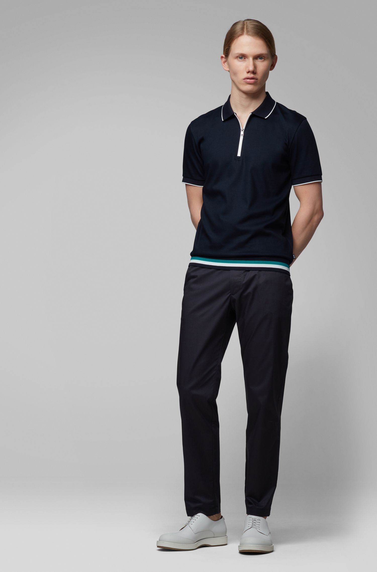 Polo regular fit con colletto con zip , Blu scuro