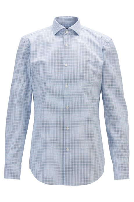 Slim-fit checked shirt with easy-iron finishing, Blue