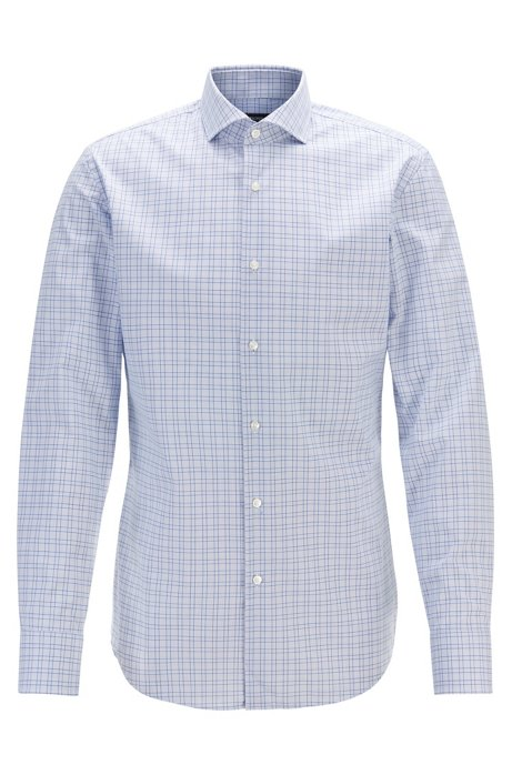 Camicia a quadri slim fit con finitura facile da stirare, Blu