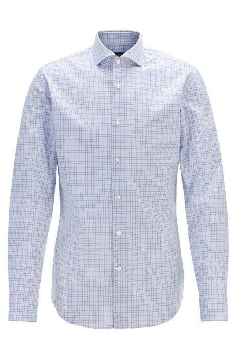 Slim-fit geruit overhemd van gemakkelijk te strijken materiaal, Blauw