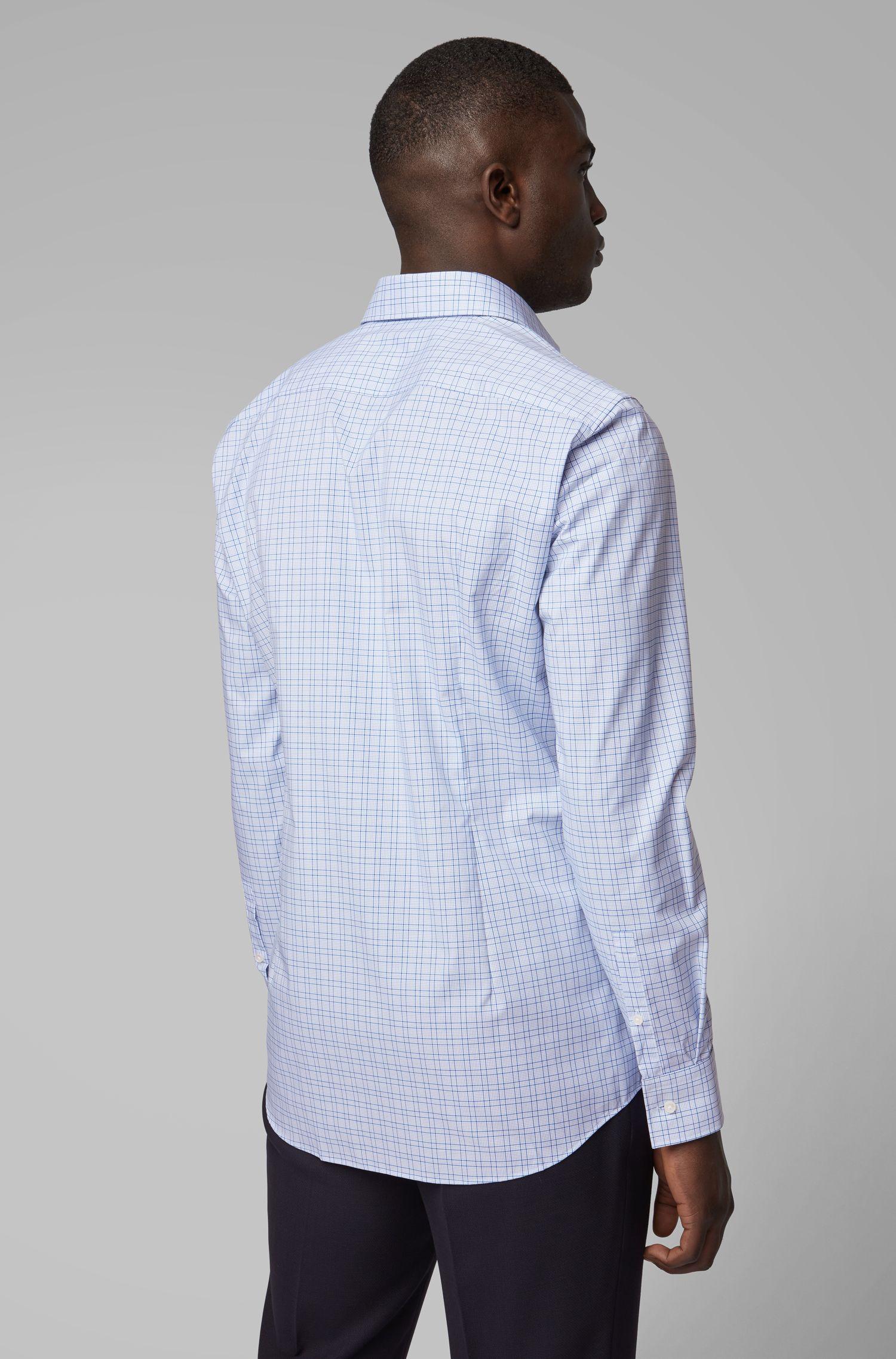 Kariertes Slim-Fit Hemd mit bügelleichtem Finish, Blau