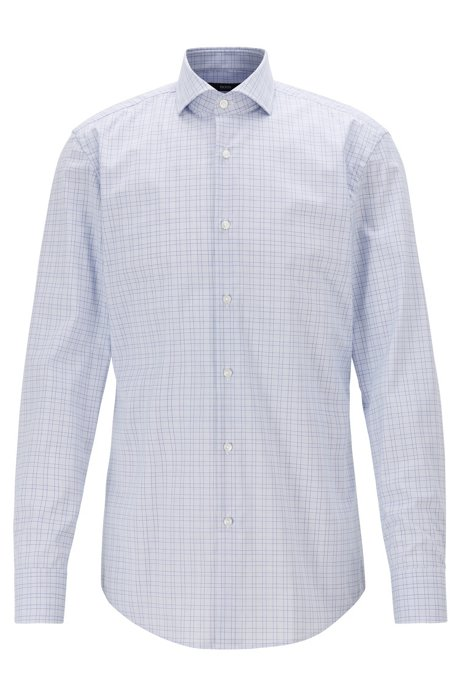 Slim-fit checked shirt with easy-iron finishing, Purple