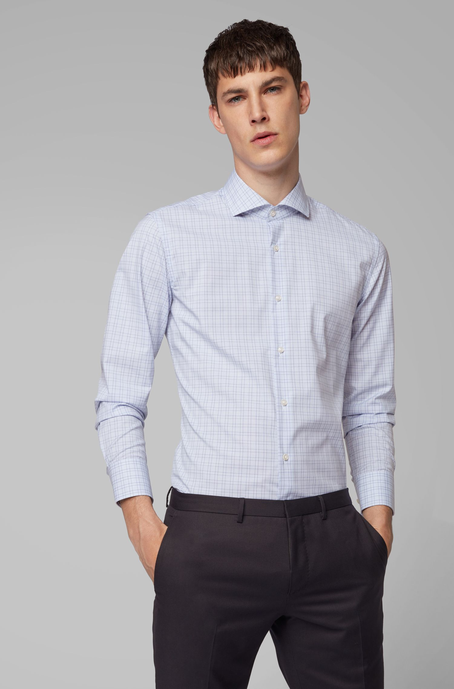 Camicia a quadri slim fit con finitura facile da stirare, Lilla