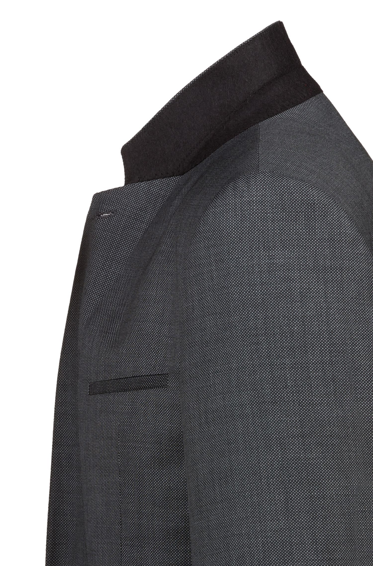 Extra Slim-Fit Anzug aus fein gemusterter Schurwolle, Anthrazit
