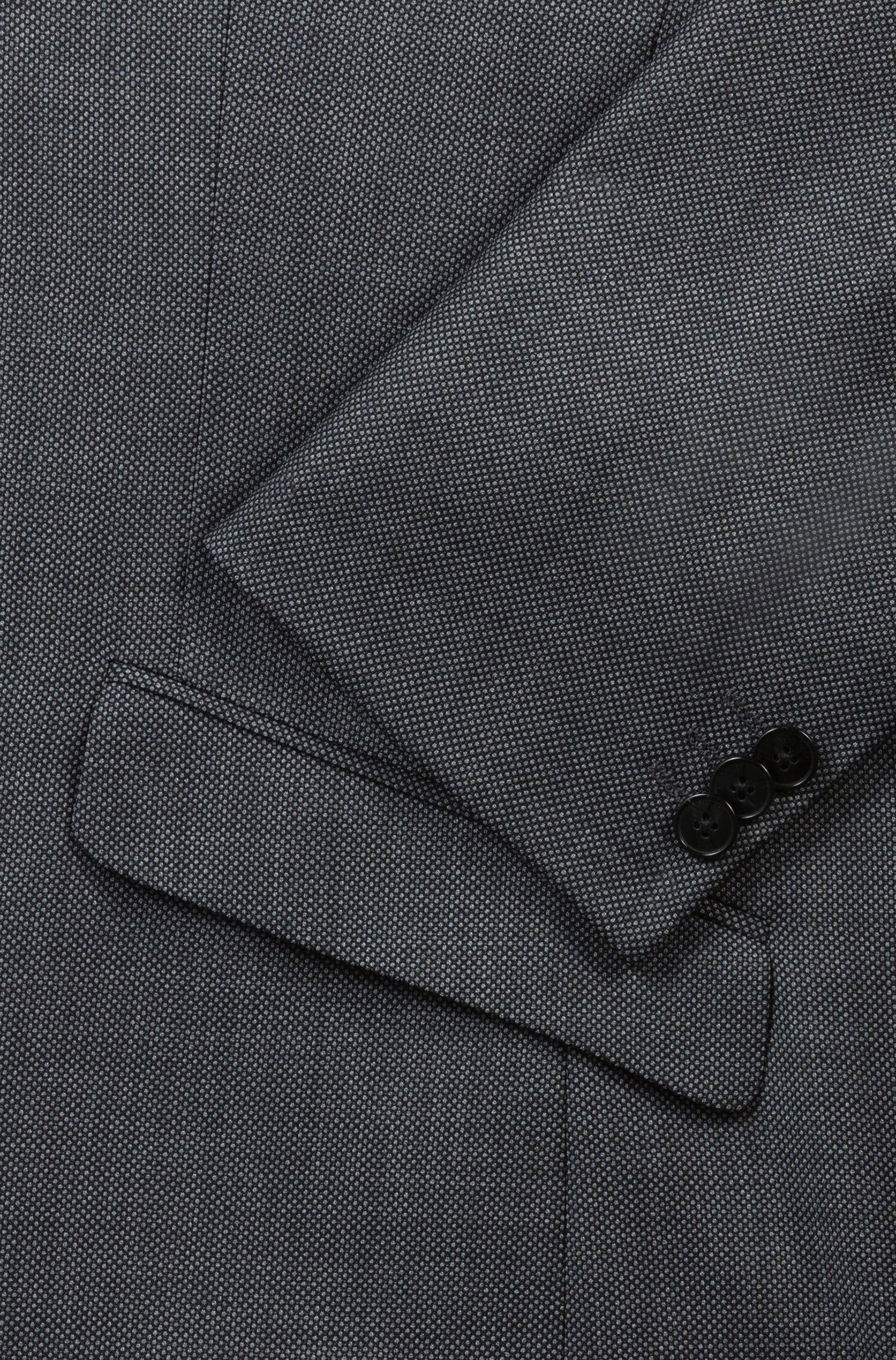 Abito extra slim fit in lana con microdisegni, Grigio antracite