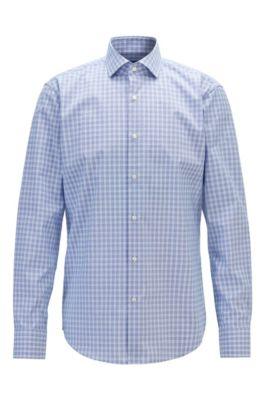 Regular-fit overhemd in een popeline van gemakkelijk te strijken katoen met ruitdessin, Bedrukt