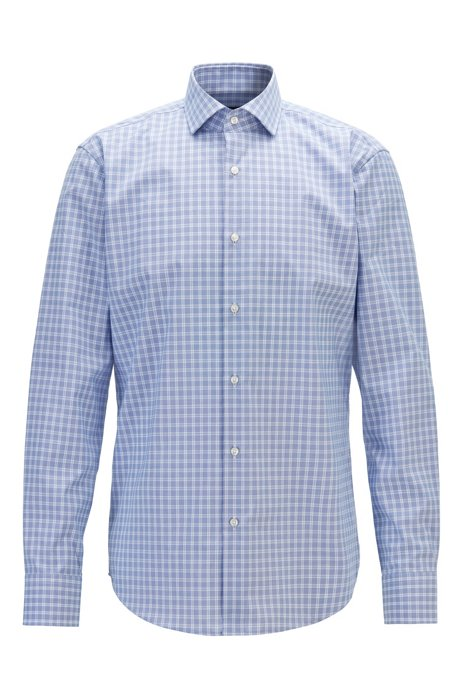 Regular-fit shirt in easy-iron checked cotton poplin, Patterned