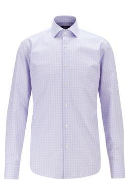Kariertes Regular-Fit Hemd aus bügelleichter Baumwoll-Popeline, Lila
