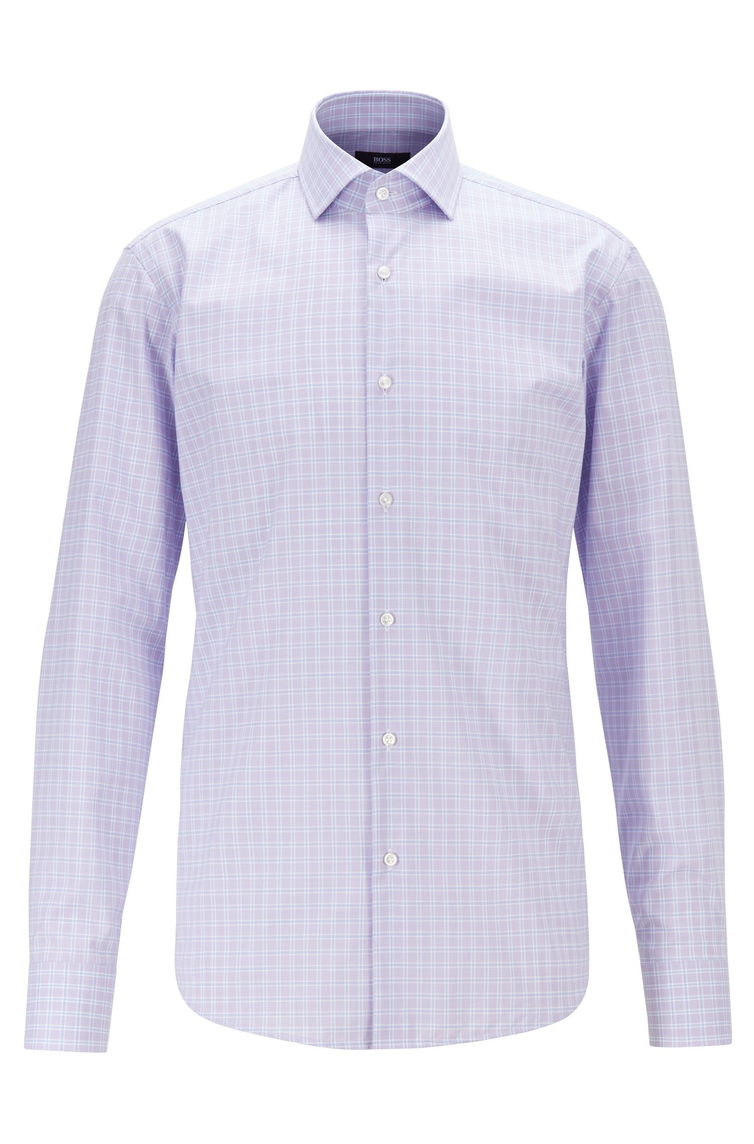 Camicia regular fit in popeline di cotone a quadri facile da stirare, Lilla