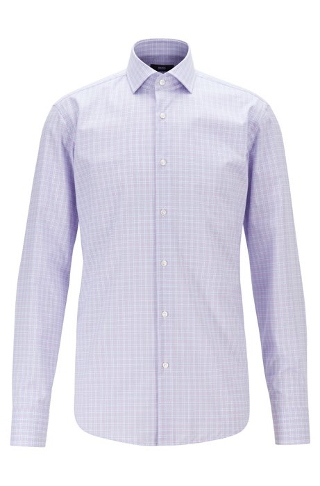Regular-fit shirt in easy-iron checked cotton poplin, Purple