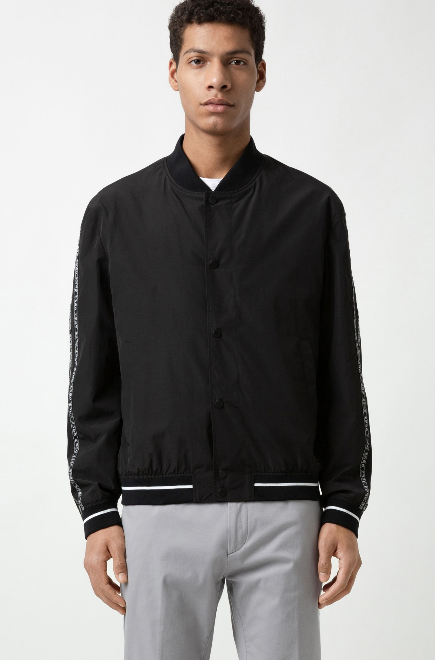 Water-repellent bomber jacket with logo-tape detailing, Black