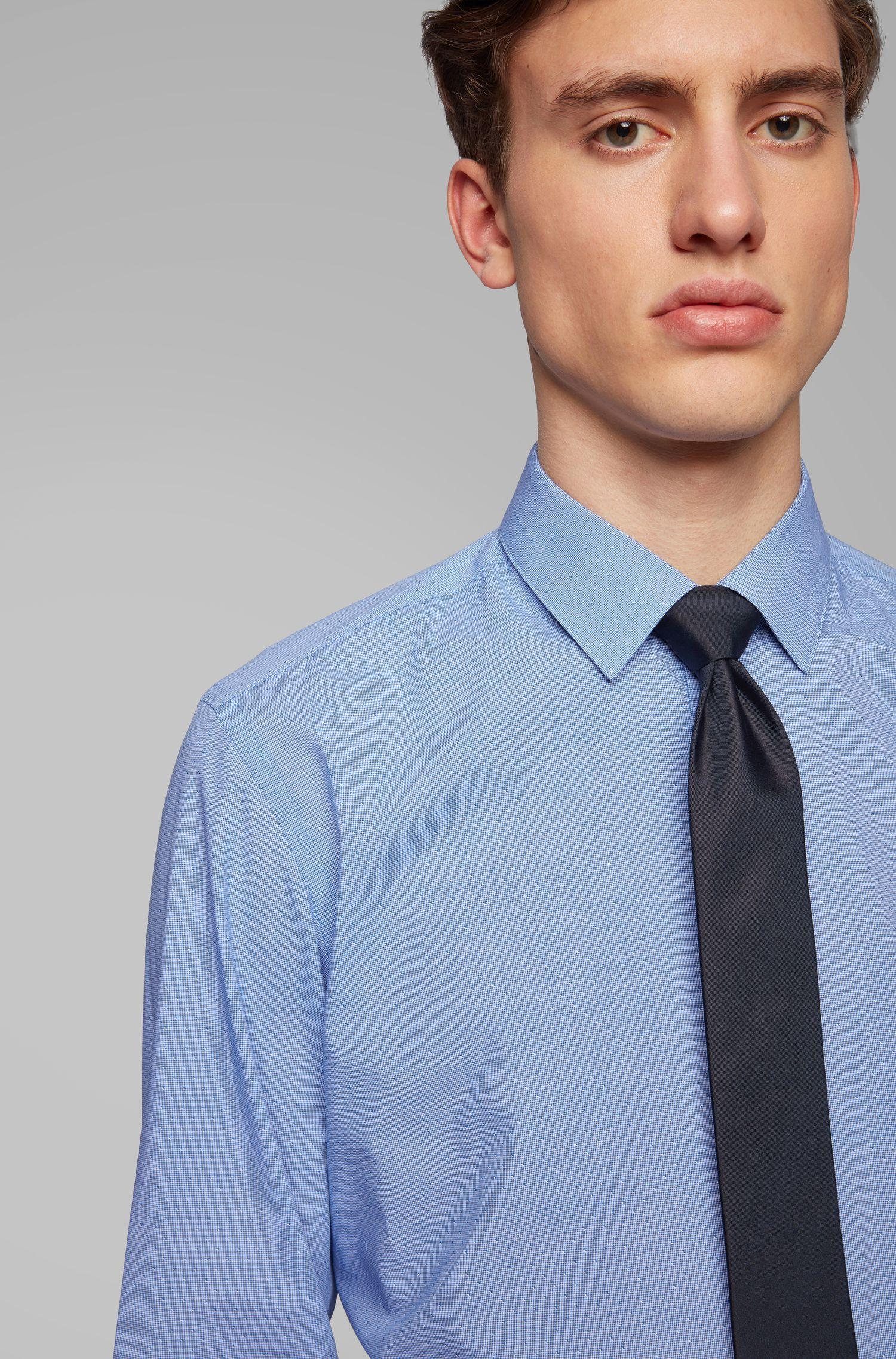 Slim-fit overhemd van dobbygeweven katoen met pepitaruitje, Blauw