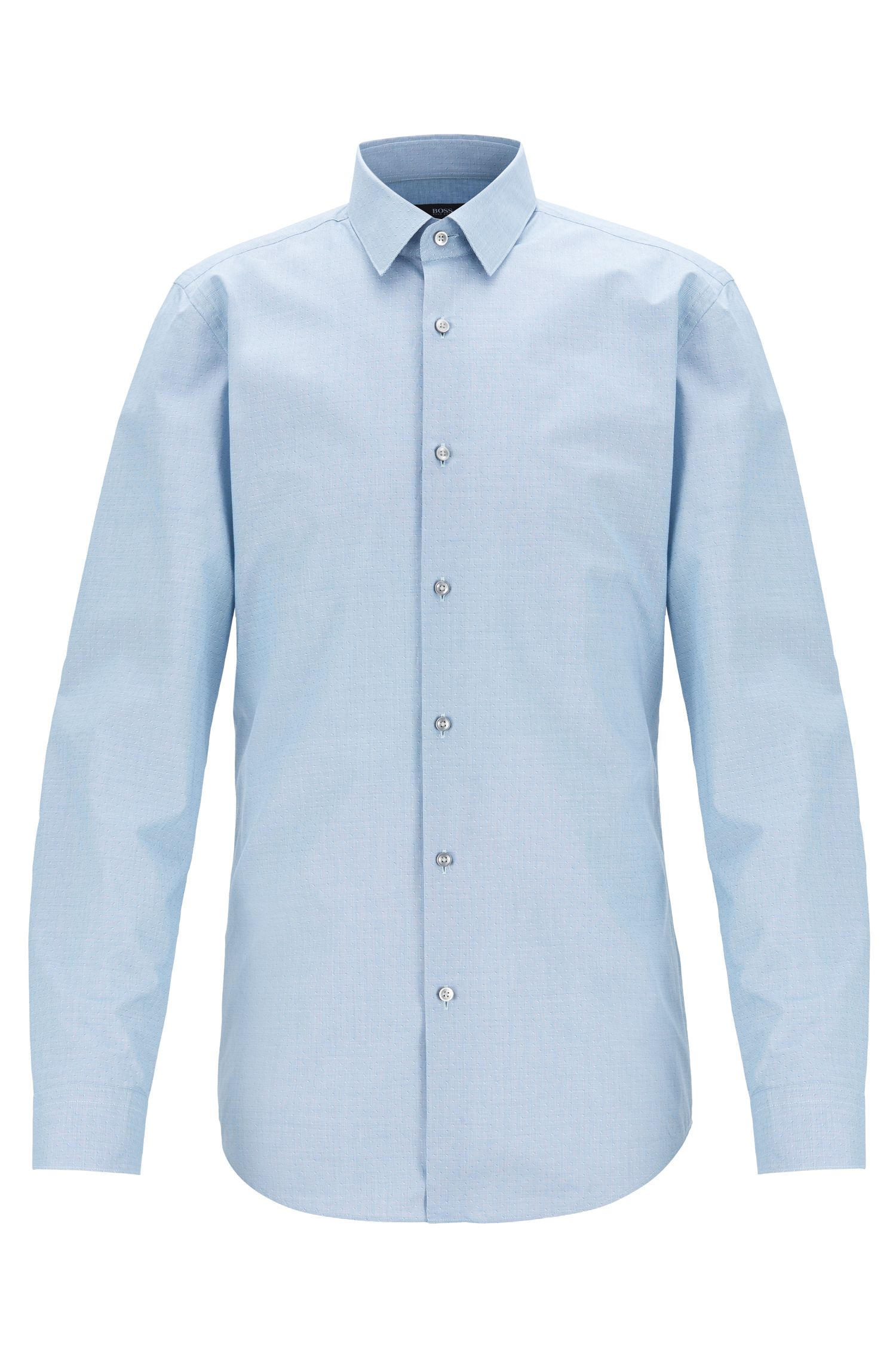Camicia slim fit in cotone micro-pepita con motivo dobby, Blu
