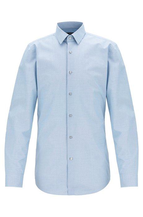 Slim-Fit Hemd aus strukturierter Baumwolle mit feinem Pepita-Muster, Blau
