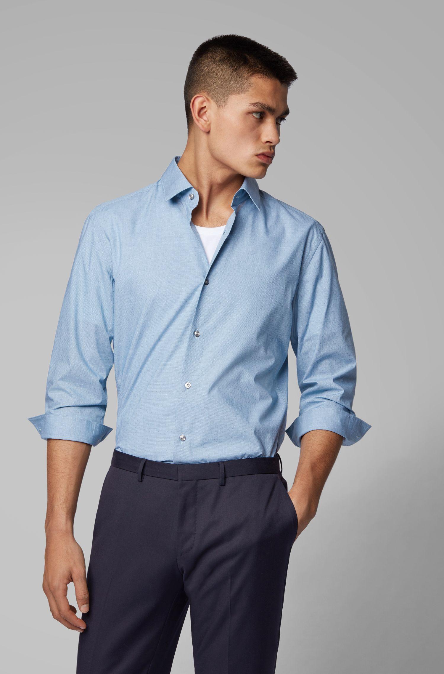 Camisa slim fit en algodón con microestampado de pata de gallo y diseño dobby, Azul