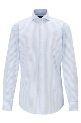 Slim-fit shirt in striped cotton, Light Blue
