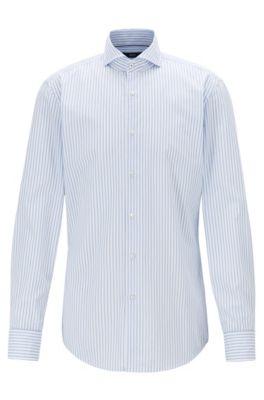 Camicia slim fit in cotone a righe, Celeste