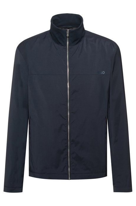 Slim-fit water-repellent jacket with reverse-logo print, Dark Blue