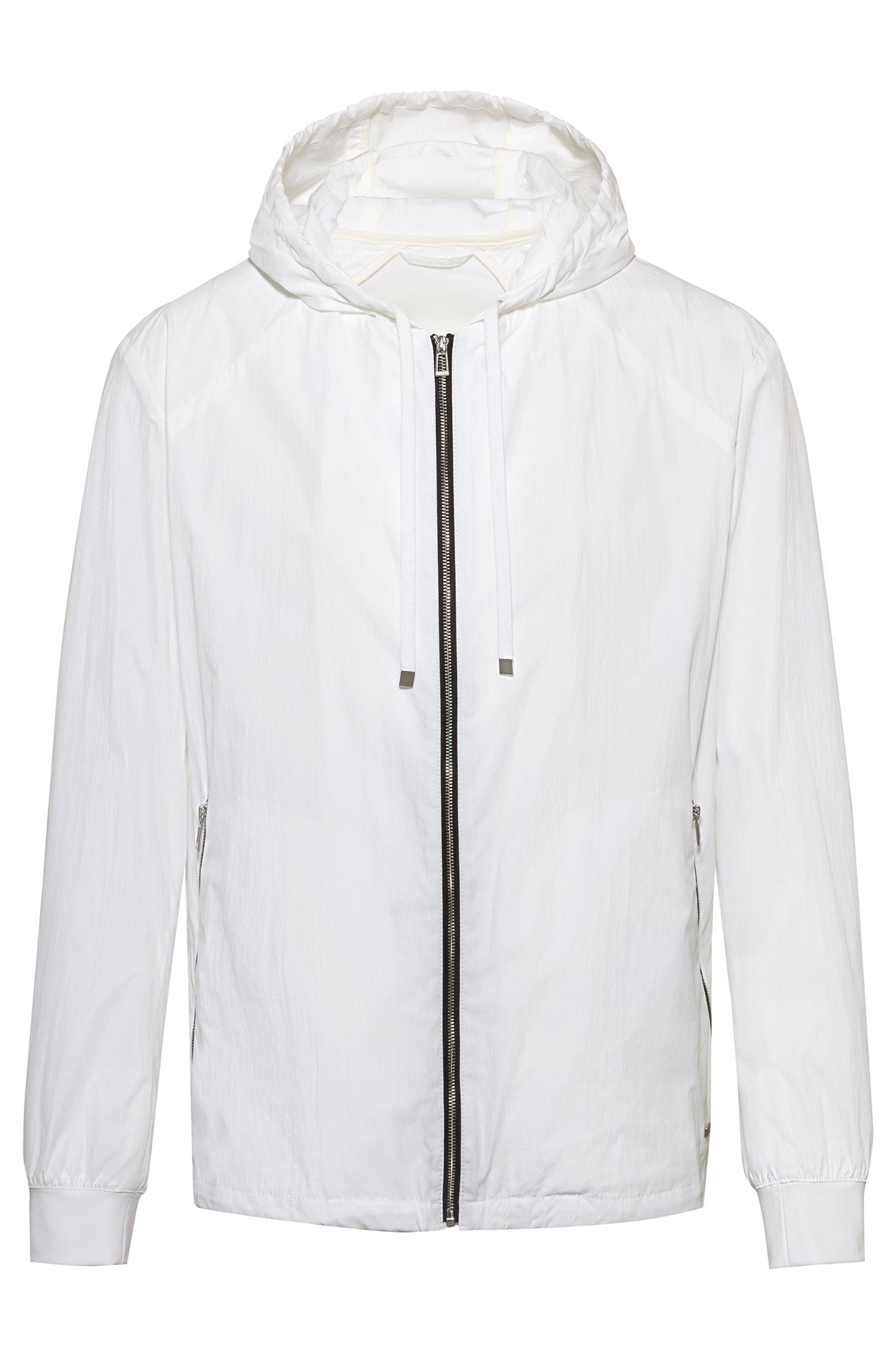 Veste à capuche zippée à motif ours, Blanc