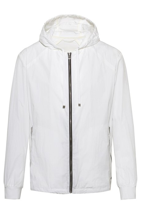 Zip-through hooded jacket with bear motifs, White