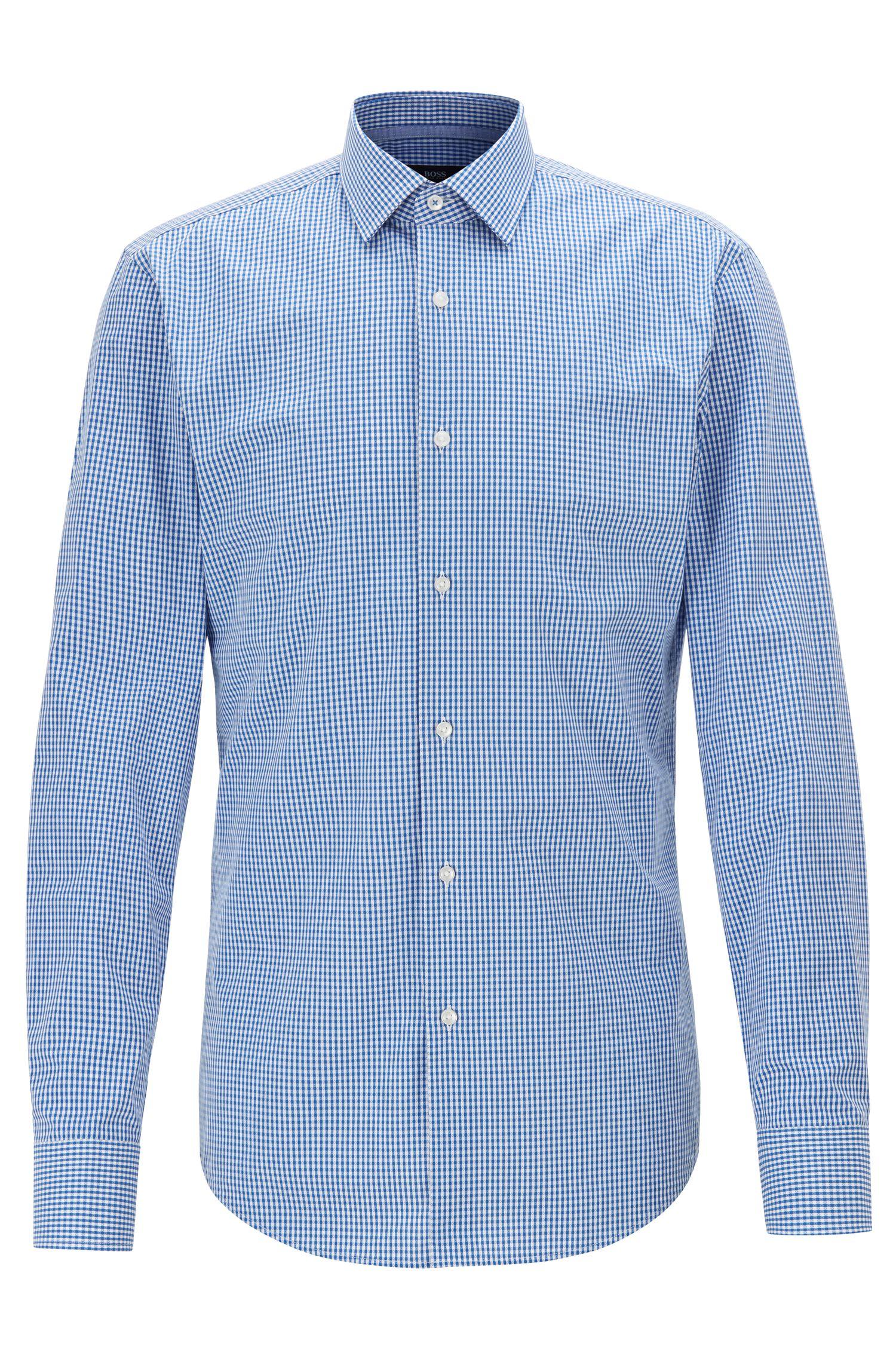 Slim-Fit Hemd aus strukturierter Baumwolle mit Vichy-Karo, Blau