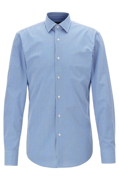 Slim-fit shirt in dobby cotton with Vichy check, Blue