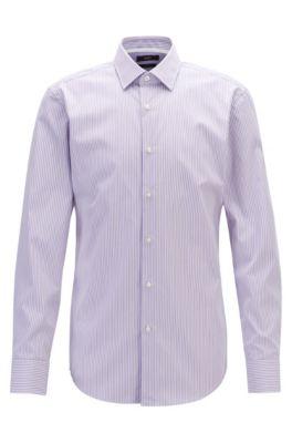Slim-fit overhemd van gestreepte, gemakkelijk te strijken katoen, Bedrukt