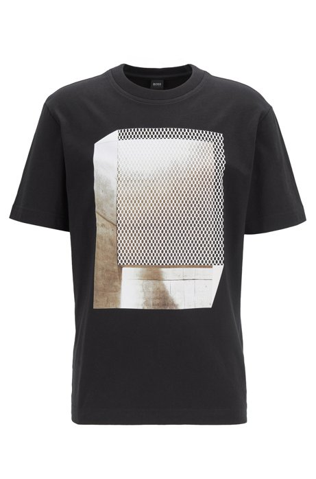 Relaxed-Fit T-Shirt aus Baumwolle mit Print in Mesh-Optik, Schwarz