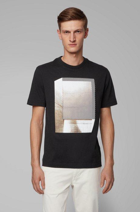 Relaxed-Fit T-Shirt aus Baumwolle mit Print in Mesh-Optik, Schwarz