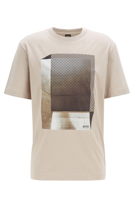 Relaxed-Fit T-Shirt aus Baumwolle mit Print in Mesh-Optik, Hellbeige