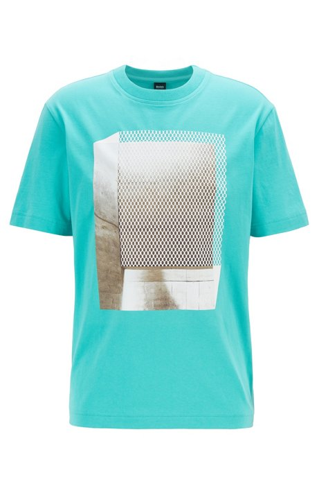Relaxed-fit T-shirt in cotton with mesh-effect print, Dark Green