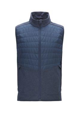 Slim-fit water-repellent gilet with lightweight PrimaLoft® padding, Dark Blue