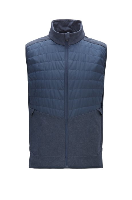 Slim-fit water-repellent gilet with lightweight PrimaLoft® padding, Dark Blue