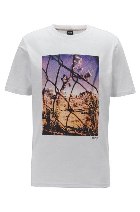 T-shirt à col rond en coton lavé à imprimé photographique, Blanc