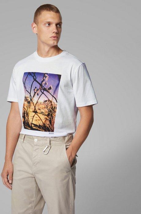 T-shirt a girocollo in cotone lavato con stampa fotografica, Bianco