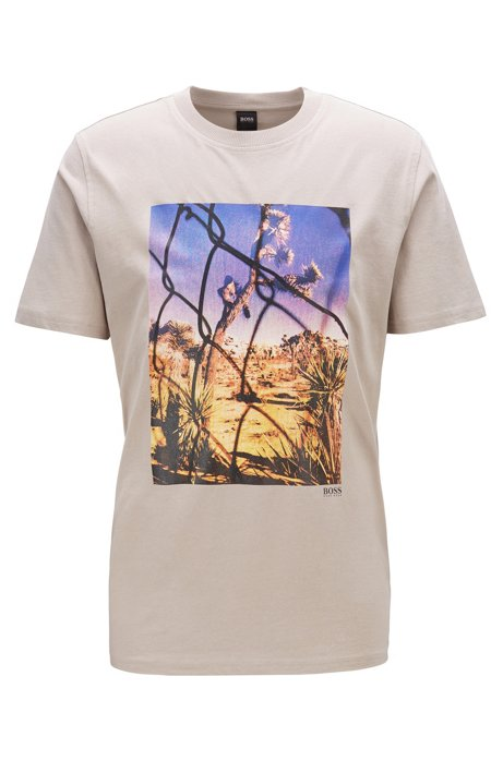 Crew-neck T-shirt in washed cotton with photographic print, Light Beige
