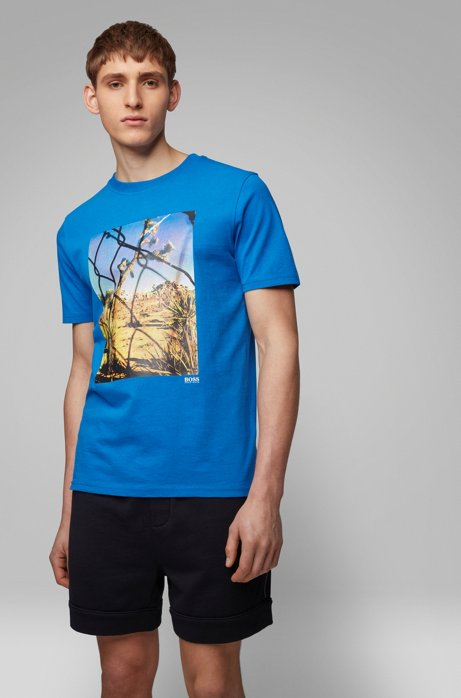 Crew-neck T-shirt in washed cotton with photographic print, Blue