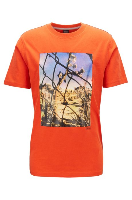 T-shirt à col rond en coton lavé à imprimé photographique, Orange