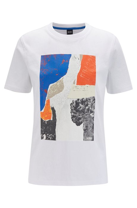 Regular-fit T-shirt with screen-printed artwork, White