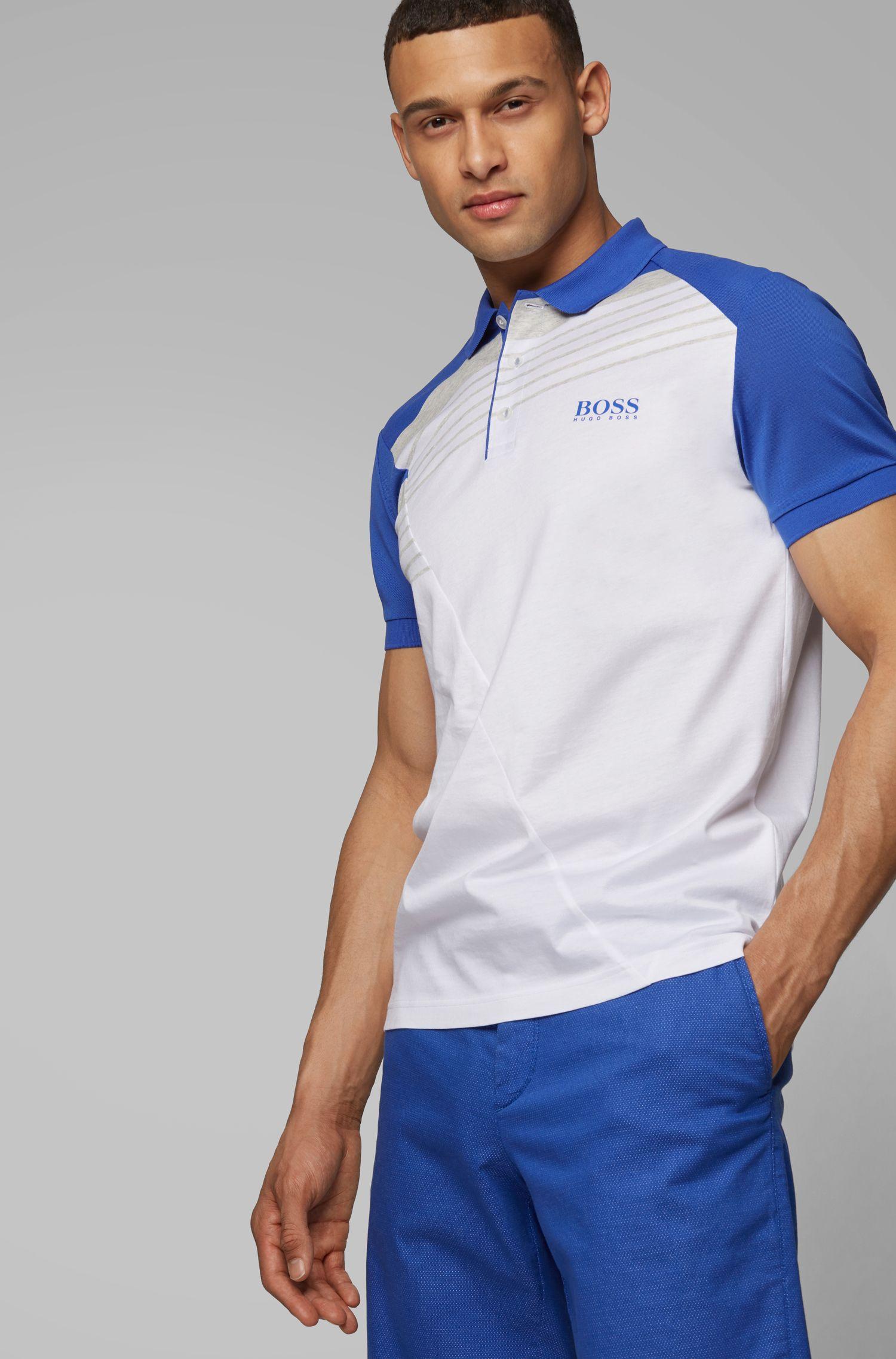 Poloshirt aus feuchtigkeitsabsorbierendem Baumwoll-Mix mit Streifen, Weiß