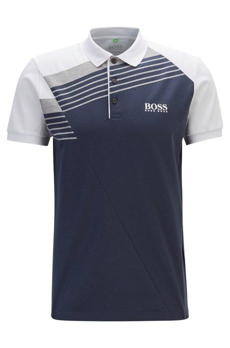 Moisture-wicking polo shirt with engineered stripes, Dark Blue