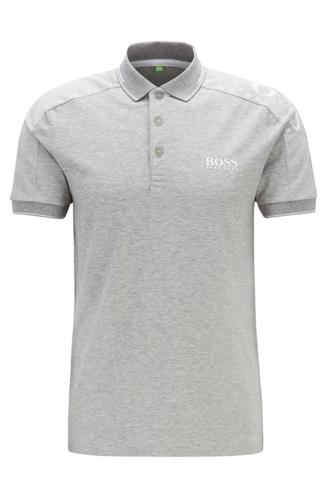 Slim-fit polo shirt with logo-print shoulders and S.Café®, Light Grey