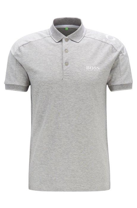 Polo slim fit con logo stampato sulle spalle e S.Café®, Grigio chiaro