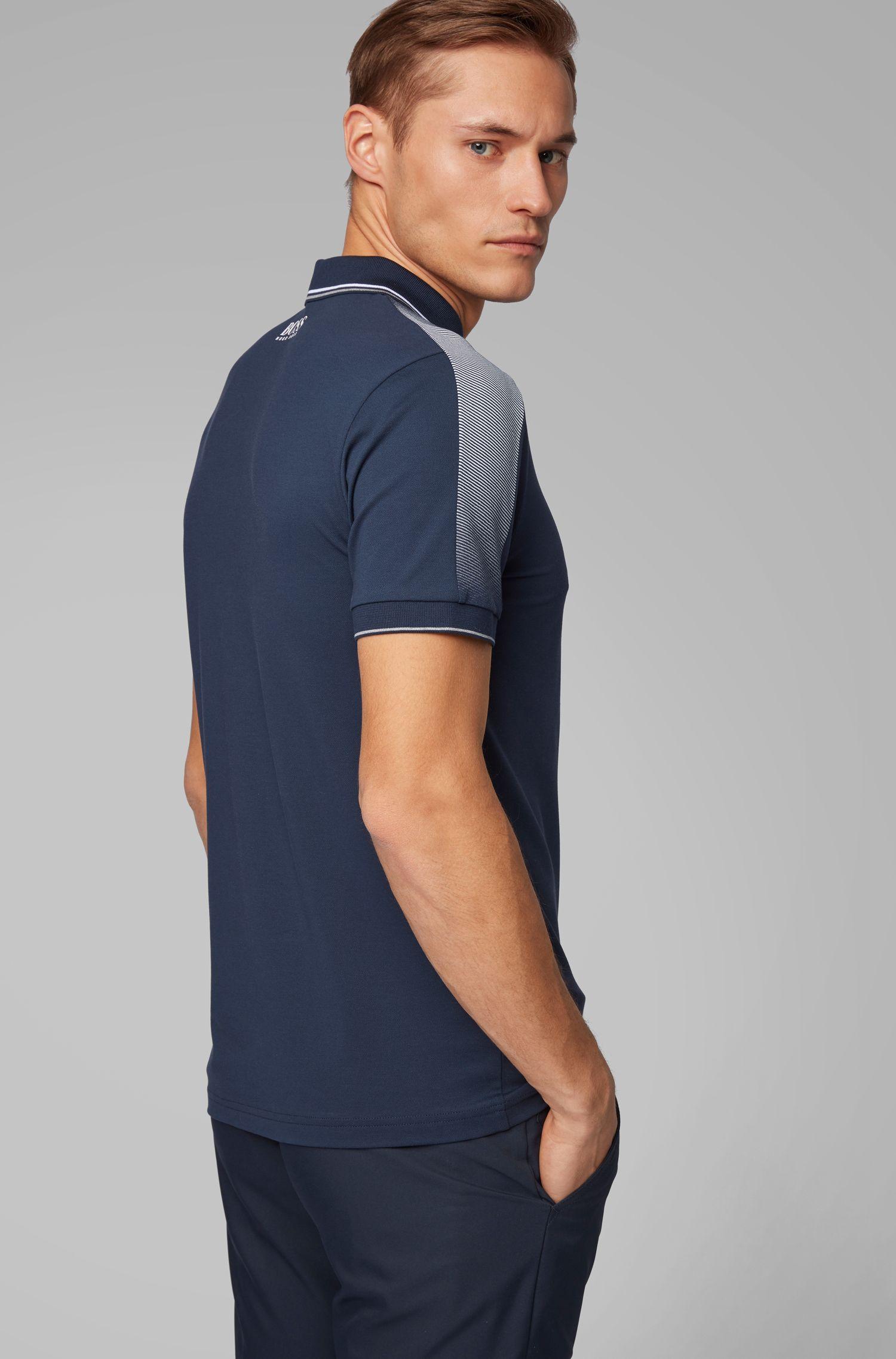 Poloshirt mit Logo-Print an den Schultern und S.Café®-Technologie, Dunkelblau