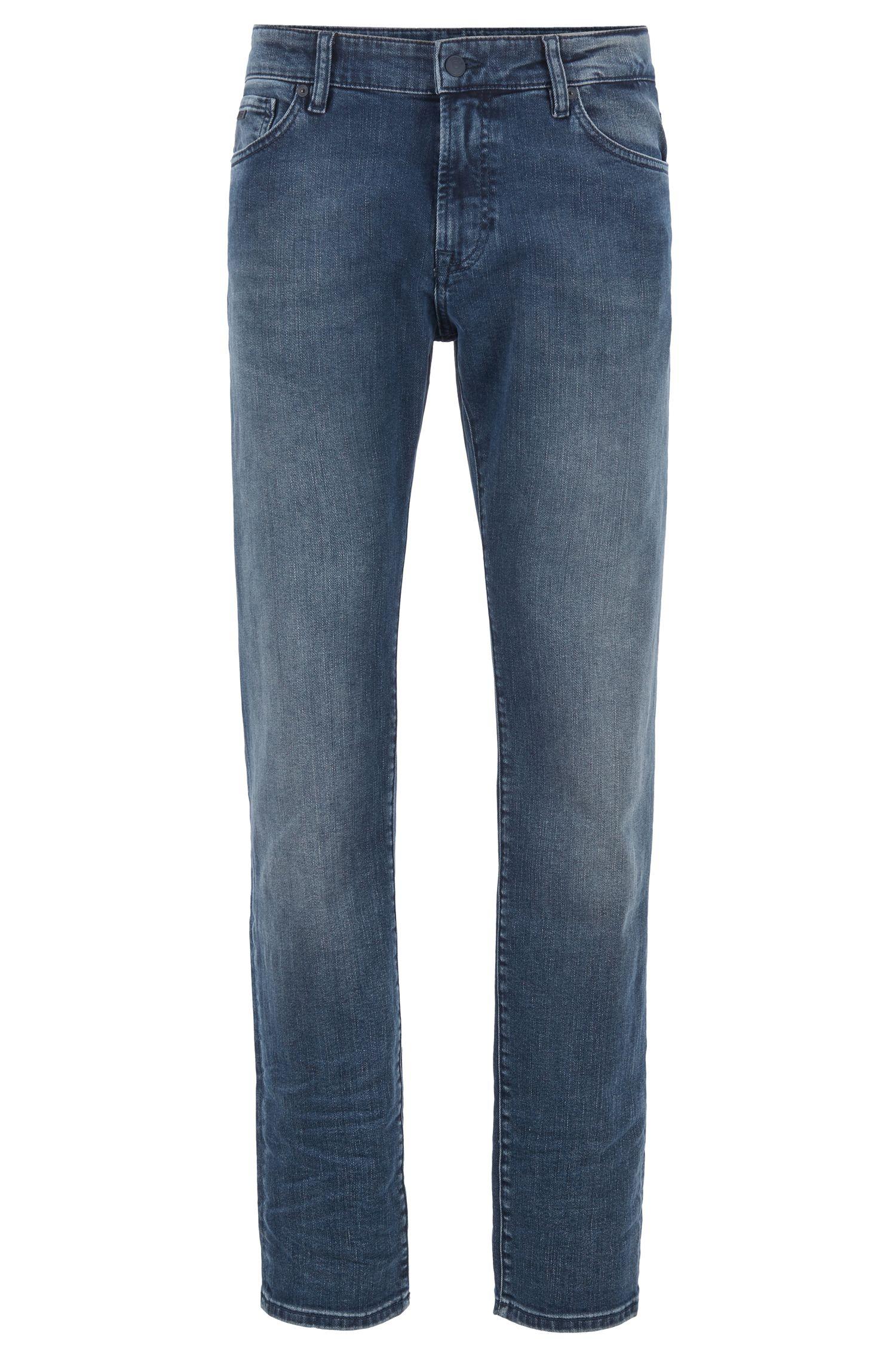 Regular-Fit Jeans aus Stretch-Denim in Used-Optik, Blau