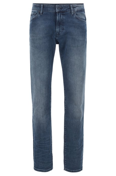 Jeans regular fit in denim blu scuro sbiadito, Blu