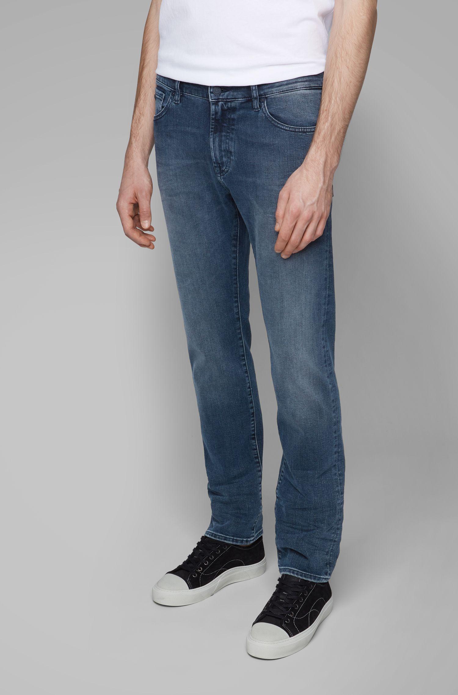 Regular-fit jeans in faded dark-blue denim, Blue